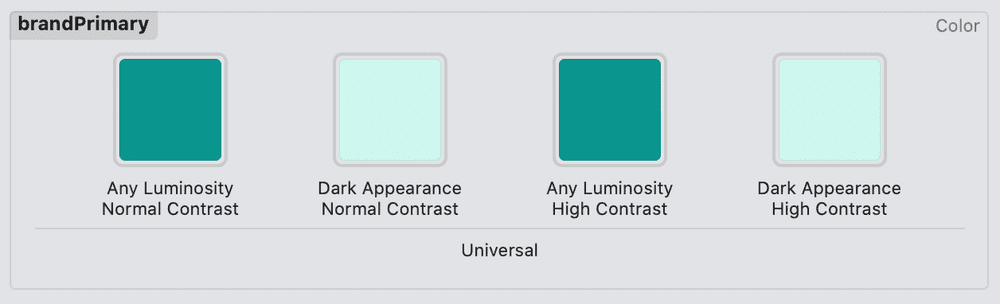 Xcode showing colorset